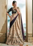 Alluring Beige Art Silk Embroidery Work Lehenga Choli