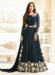 Desirable Navy Blue Georgette Embroidery Work Anarkali Suit