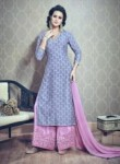 Gleaming Pink Silk Printed Work Plaoa Churidar Suit