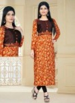 Engaging Orange Cotton Silk Printed Work Designer Kurti