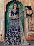 Lovely Navy Blue Velvet Embroidery Work Lehenga Choli