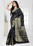 Eligance Black Banarasi Silk Zari Work Designer Saree