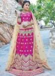 Angelic Rani Pink Net Embroidery Work Lehenga Choli