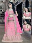 Invaluable Pink Silk Embroidery Work Lehenga Choli