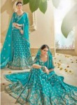 Smashing Sky Blue Art Silk Embroidery Work Lehenga Choli