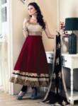 Modest Maroon Banglori Satin Designer Anarkali Suit