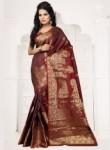 Charming Brown Banarasi Silk Zari Work Saree