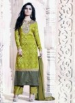Beautiful Green Jacquard Embroidery Work Plazo Salwar Suit