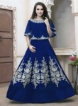Honourable Navy Blue Tapeta Silk Embroidery Work Anarkali Suit