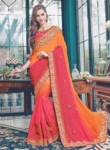 Affluent Pink Satin Embroidery Work Designer Saree