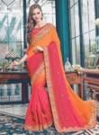 Affluent Pink Satin Embroidery Work Designer Saree