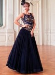 Gleaming Navy Blue Net Party Wear Hand Work Gown