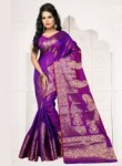 Wonderful Violet Banarasi Silk Zari Work Saree