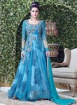 Interesting Sky Blue Net Embroidered Work Designer Gown