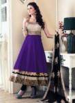 Transcendent Violet Banglori Satin Designer Anarakali Suit