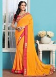 Delightful Yellow Georgette Patch Work Designer Saree