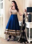 Dainty Blue Banglori Satin Designer Anarkali Suit