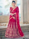 Innovative Red Art Silk Embroidery Work Lehenga Choli