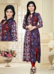 Amazing Blue Cotton Silk Printed Work Designer Kurti