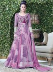 Lovely Pink Net Embroidered Work Designer Gown