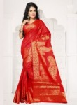 Lovely Orange Banarasi Silk Zari Work Saree