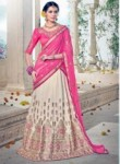Impressive Cream Art Silk Embroidery Work Lehenga Choli