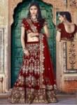 Interesting Maroon Velvet Embroidery Work Lehenga Choli