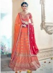 Lovely Orange Art Silk Embroidery Work Lehenga Choli