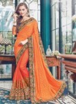 Superb Orange Jacquard Embroidery Work Designer Saree