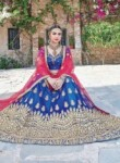 Integral Blue Net Embroidery Work Lehenga Choli