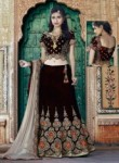 Enthralling Brown Velvet Embroidery Work Lehenga Choli