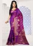 Pretty Violet Banarasi Silk Designer Saree